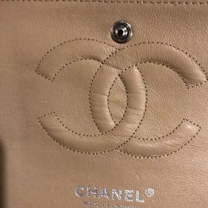 CHANEL Bags - Authentic CHANEL Beige Silver Hardware Double Flap